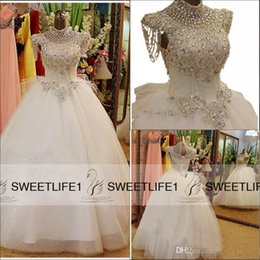 Wholesale Luxury Wedding Dresses With High Neck Swarovski Crystals Beading Ball Gown Bow Floor Length Tulle Hot Customized Bridal Gowns Corset Back