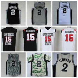 2016 Sport 2 Kawhi Leonard Jersey San Diego 15 Estado Kawhi Leonard universitarios Camisas Uniformes Navidad de la manera Inicio Negro Gris Blanco