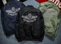Wholesale Cartas de estilo militar para hombre Flying Tiger Impresión Varsity chaqueta de brazo Badge Bordado Spring Uniformes de béisbol
