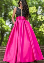 Wholesale 2016 Satin A line Prom Dresses with black beading and sweet front bow at the waistline and pleated skirt and sassy pockets Gowns