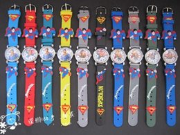 online shopping 2016 New fashion D Cartoon Superman Quartz Wristwatches Kids Silicone Watches For kids Christmas Birthday Gifts mixed color order