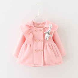 Wholesale Cute Baby Girls line Buttons Ruffle Coats Fall Winter New Arrival Kids Boutique Clothing Little Girls Coats Age Year