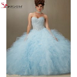 Wholesale Light Sky Blue Tulle Ruffled for years Cheap Masquerade Dresses vestido debutante with AB stones Quinceanera Dress
