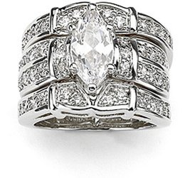 2017 diamonique engagement rings Victoria Wieck Deluxe Lovers Topaz  Diamonique 14KT White Gold Filled 3 Wedding