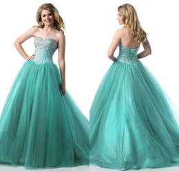 Wholesale Aqua Quinceanera Dresses Formal Lace up Back Elegant Crystals Beaded Prom Gowns Ball Gown Tulle Strapless Sweetheart Neck Custom Made