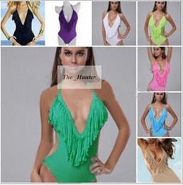 Wholesale Women Tassel Bikini Tankini Frill Fringe Swimsuit Set One piece Swimwear Sexy Deep V Neck Beachwear Tassels Swim Bikini Bathing Suit A159