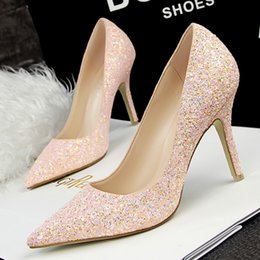 Wholesale hot sales Fashion bridal shoes for wedding Sequins Pumps shoes women prom shoes High Heel shoes bride maid of honor