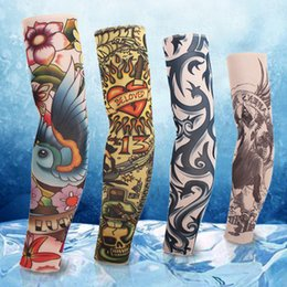 Wholesale Personality Fashion Tattoo Sleeves Arm Ice Silk Summer Driving Prevented Bask In Cuff Arm Sleeve Cycling Arm Guard