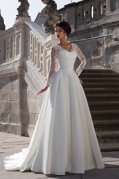 Wholesale Elegant Lace Top Europe A Line Satin Skirt Full Sleeves Wedding Dresses Bridal Gowns a115