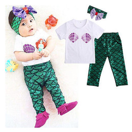 Wholesale Baby girls Mermaid INS suits set children short sleeve T shirt paillette Hair band fish scales Leggings baby kids Clothes