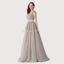 Wholesale New Arrival A Line Chiffon Applique Lace Beaded Grey Cheap Evening Dresses Long Vestido Formal Robe De Soiree Femme