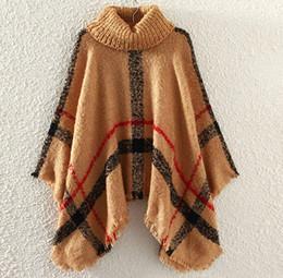 Wholesale New Autumn Winter woman big girls classic plaid cloak High collar shawl Poncho fashion Loose plaid Bat shawl DHL C1549