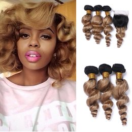 Discount ombre brazilian loose wave closure New Arrival #1B 27 Blonde Dark Root Ombre Loose Wave Brazilian Human Hair Bundles Weaves With Lace Closure Free Part 4Pcs lot