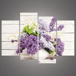 Продвижение 4 шт Горячие продажи HD Большой сиреневый цветок холст картины красивые декоративные стены искусства современной абстрактной неструктурированного H / 009