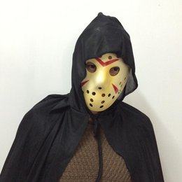 New Cosplay Dressing Killer Costume Jason Mask Long Black hooded cloak Suit Carnival Halloween Party Mask TAOS free shipping
