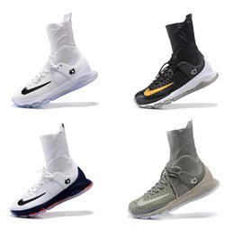 Free Shipping 2016 Kevin Durant KD 8 Viii Elite Basketball Shoes,Men White Black Best Quality High Top Kd8 Sneakers Athletic shoes Size 7-13