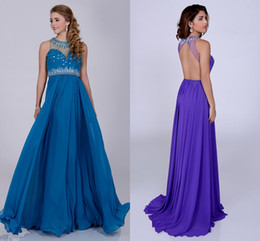 Wholesale Peacock Hot Pink Purple Chiffon Prom Dress O Neck Sheer Top With Shimmering Crystal A Line Evening Gown Long Robe De Soiree HY982