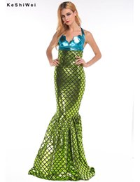 Wholesale KESHIWEI Sexy Mermaid Costume for Women Adult Halloween Costume Green Fancy Party Cosplay Dress One Size