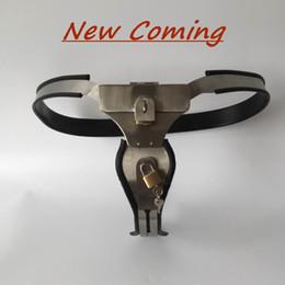 Wholesale BLACK EMCC New Feminino Ajustável Modelo T Cinto de castidade de aço inoxidável com Bloqueio de tampa e bloqueio pad para mulheres sexo bondage SM
