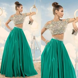 Wholesale 2016 Fashion Two Pieces Prom Dresses Sexy Bling Beaded Crystal Jewel Neck Short Sleeve Elegant Green A Line Satin Pageant Dress for Teens