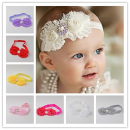 Wholesale Shabby Flowers Baby Headbands Chiffon Fabric Flower Pearls Rhinestones Button Colors Children Hair Accessories
