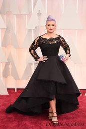 Wholesale 2016 Oscar Kelly Osbourne Celebrity Dress Long Sleeved Lace Scallop Black High Low Red Carpet Sheer Evening Dresses Party Ball Gown