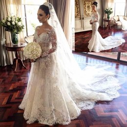 Wholesale 2016 Retro D Floral A line Wedding Dresses with Detachable Skirt in Dress For Bride Jewel Neck Long Sleeves Full Lace Bridal Gowns