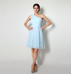 Wholesale Classic Sky Blue Chiffon Knee Length Bridesmaid Dresses One shoulder Sleeveless Cheap Short Dresses For Wedding FW