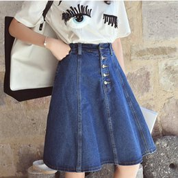 Discount Button Front Denim Skirt | 2017 Button Front Denim Skirt ...