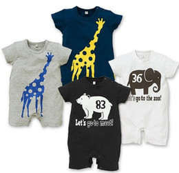 Wholesale Baby Barboteuses Elephant Girafe Summer Cartoon manches courtes Romper bébé garçon Vêtements Marine Summer Gris Blanc Noir