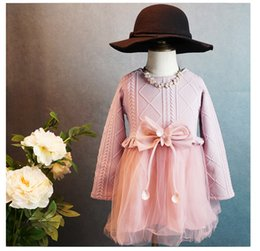 Wholesale Kids Girls Knit Sweater Baby girl tulle lace TUTU autumn winter princess kids bowknot sweater p l