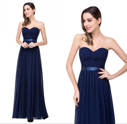 Wholesale 2016 New Navy Blue Chiffon Bridesmaid Dresses Strapless Under Summer Long Beach Sashes For Wedding Formal Prom Party Evening Gowns CPS263