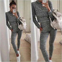 Wholesale 2 Piece Set For Women Sport Suits Gray Survetement Femme Female Winter Chandal Mujer Fitness Casual Tops Pants Tracksuits
