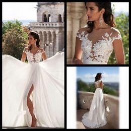 Wholesale Beach Wedding Dresses Sexy Split Slit Boho Wedding Dress Chiffon Lace Appliques Bridal Gowns Country Bride Dress