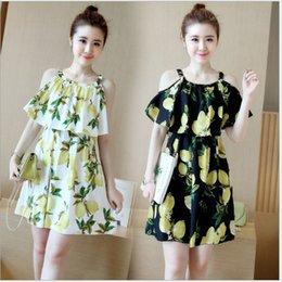 Wholesale 2016 New Summer Style Fashion Woman Dress Charming Shoulder Off Short Sleeveless Dress Cute Lemon Patterns Casual Dress Modern Dessign