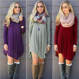 Wholesale Hot Selling Dresses for Women Clothes Fashion Long Sleeve Autumn Casual Loose T Shirt Plus Size Dress S M L XL QZ957