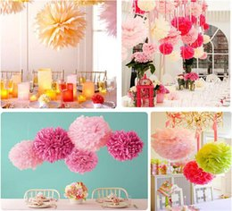 Wholesale 2016 Wedding Accessorie Inch Mix Size Ball Peony Papers Flowers Pom Poms for Christmas Wedding Party Birthday Decorations Cheap