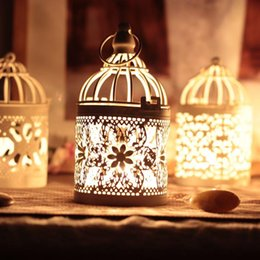 White Color Bird Cage Decoration Candle Holders Metal Lantern Candelabra Wedding Candlestick Home Wedding Decor 3 Style To Choose