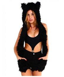 Wholesale Echarpe Femme Coton d hiver Entièrement Animal Hood Hoodie Chapeau Faux Fur en Fonction Paw Gants Mitaines