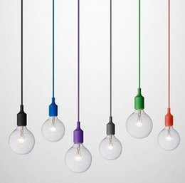 Art Decor Silicone E27 Pendant Lamp Ceiling light bulb Holder Hanging lighting Fixture base Socket Modern silica gel retro Colorful muuto from modern led hanging light fixtures suppliers