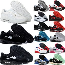 Discount shoes run air max 2016 Men & Womens Air Mesh Running Shoes 90 Max Sneakers High Quality 87 Colors with Original Logo Black white Navy Purple Pink Colors Print