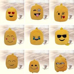 El nuevo estilo QQ Expression Emoji Smiley embroma los bolsos de escuela Los niños amarillos empluman el regalo 9 de la Navidad del estilo del regalo de la Navidad