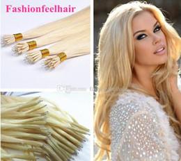 "2017 nano micro loop hair extensions Micro Loop Nano Ring Human Hair Extensions 18""-28"" 24# Natural Blonde Straight Unprocessed Virgin Peruvian Hair nano micro loop hair extensions on sale"