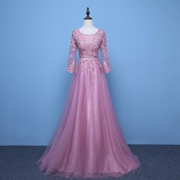 Wholesale Appliques Evening Dress Beaded Valentino Elie Saab Sash Sweep Train Sheer Neck Long Sleeves New Party Pageant Dresses Gown Formal Gown