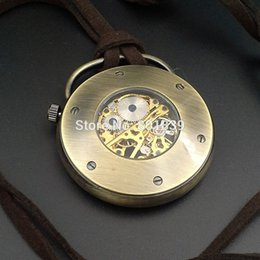 discount wind up pocket watches 2017 mechanical wind up pocket 20pcs a lot bronze tone skeleton case wind up mechanical mens pocket watch w leather chain nice xmas gift whole price h091