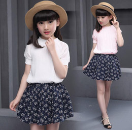 Discount wholesale shirts for summer 2016 Summer For Big Girls Two-piece Set Kids Short Sleeve Tops T Shirt + Floral Skirt Children Outfits Clothing Suit White Pink
