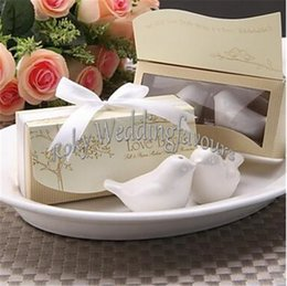 DHL ENVÍO LIBRE 2PCS / set la cena de los pájaros del amor y la coctelera de pimienta Beaucoup de cerámica Favors de la boda Regalos de Casamento Wedding Shower Supplies