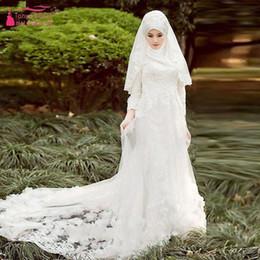 Wholesale Blanco Vestidos de novia de la boda con Hijab elegante nupcial gownsa Vestidos de novia de lujo de África Vestido de noiva Vestidos largos