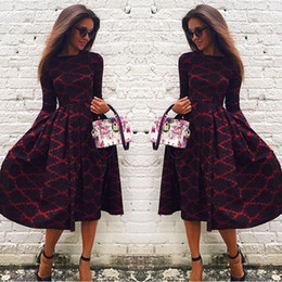 Wholesale Women Autumn Winter Dress Vintage Print Dress Long Sleeve Female Mid Calf Dress O Neck Vestidos dresses with pattern