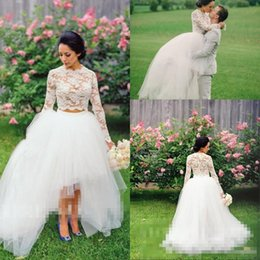 Wholesale Vintage High Low Wedding Dresses New White Lace Two Pieces Tulle Beach Wedding Gowns Ball Full Long Sleeve Brautkleider Puffy